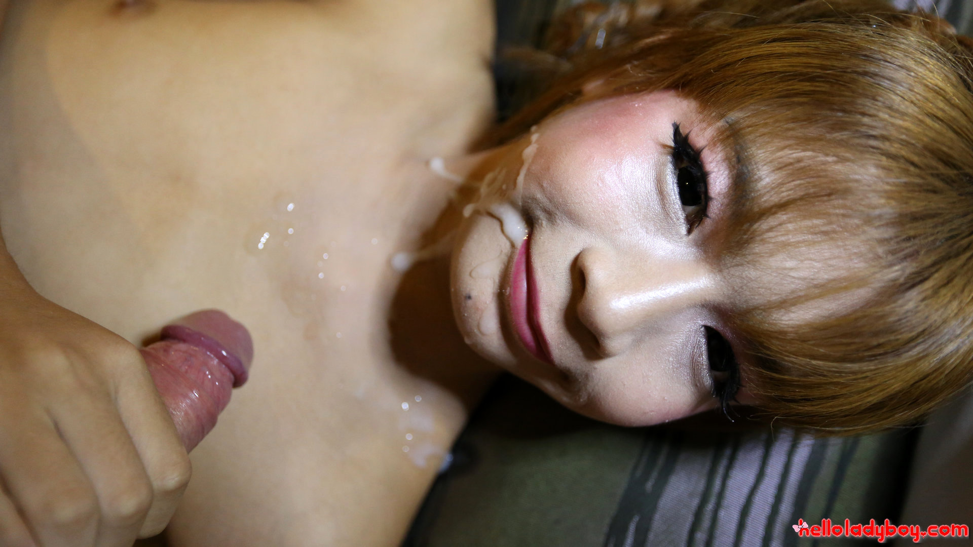 18 Year Old Asian Transexual Gets A Cream Pie From A Huge White Dick