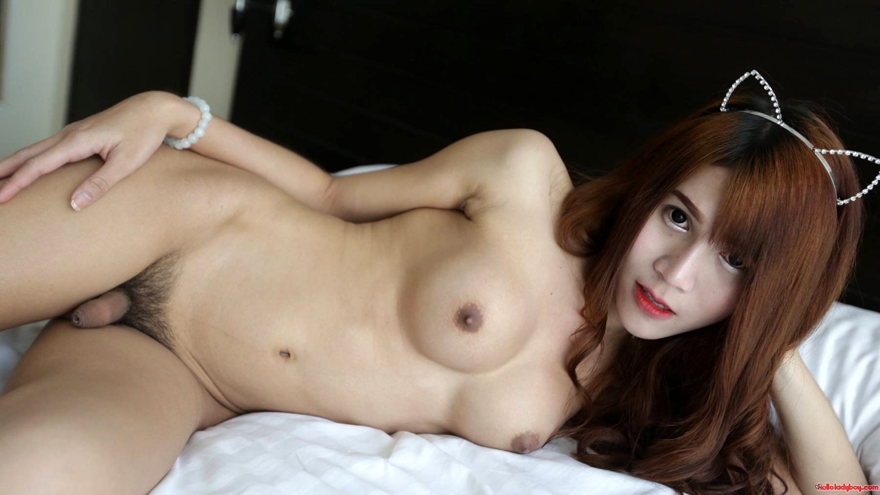 18 Year Old Yummy Asian With Long Red Hair And Busty T-Girl Strips