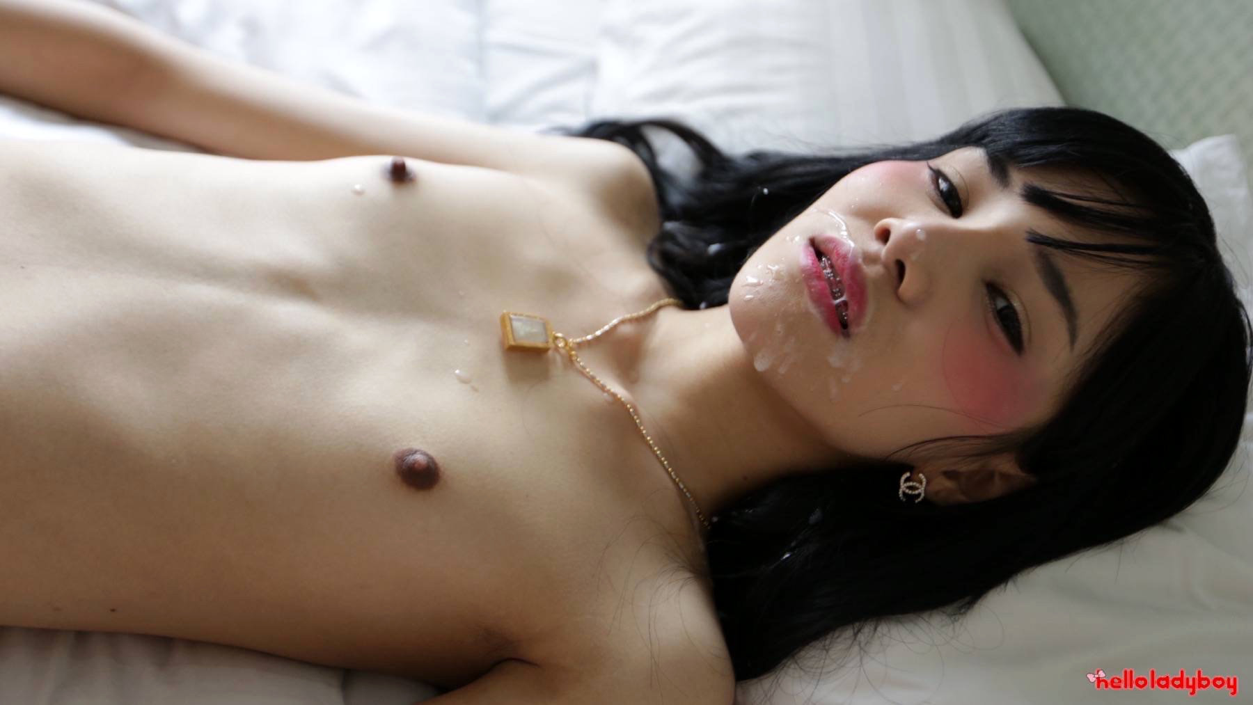 19 Year Old Asian TGirl Blowjob And Facial From White Dick