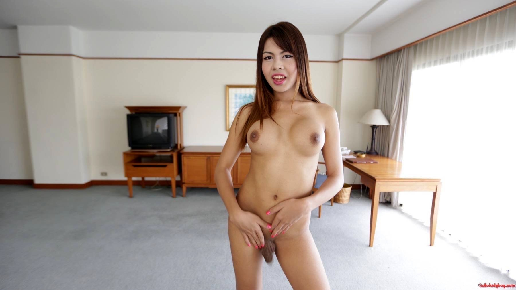 20 Year Old Busty Asian T-Girl Strips To Her Massive Tits And Dick