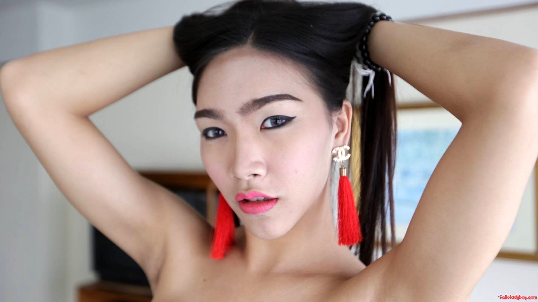 21 Year Old Busty Asian TGirl Strips And Sucks Tourist Tool For A Facial