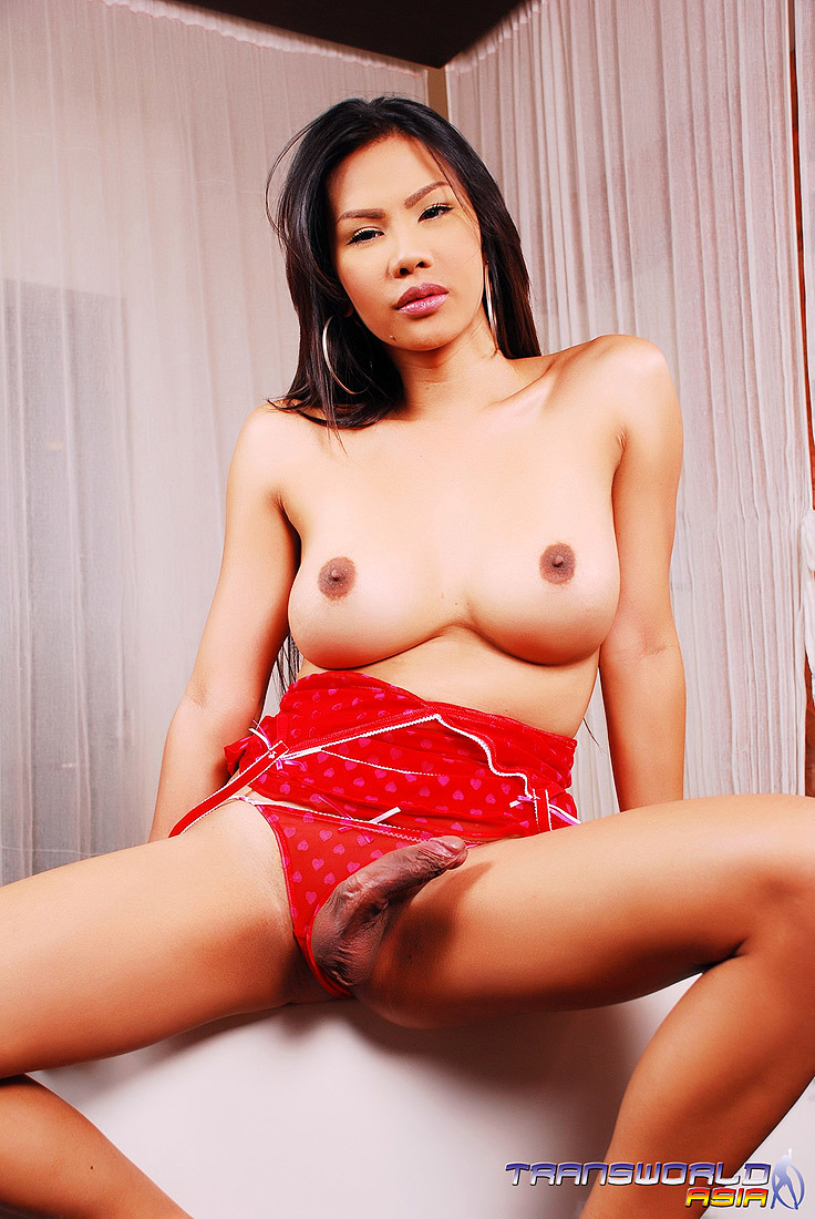 A Hot Oriental T-Girl In Red Panties With A Raging Boner