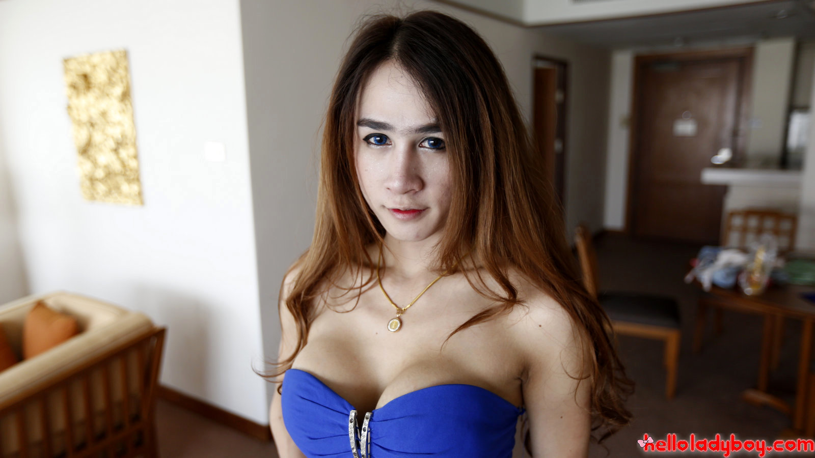 Asian Tgirl With Enormous Fake Boobs And Long Hair Gets Facial From Tourist