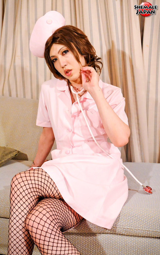 Japanese Femboy Nurse Strips Before Cameraman