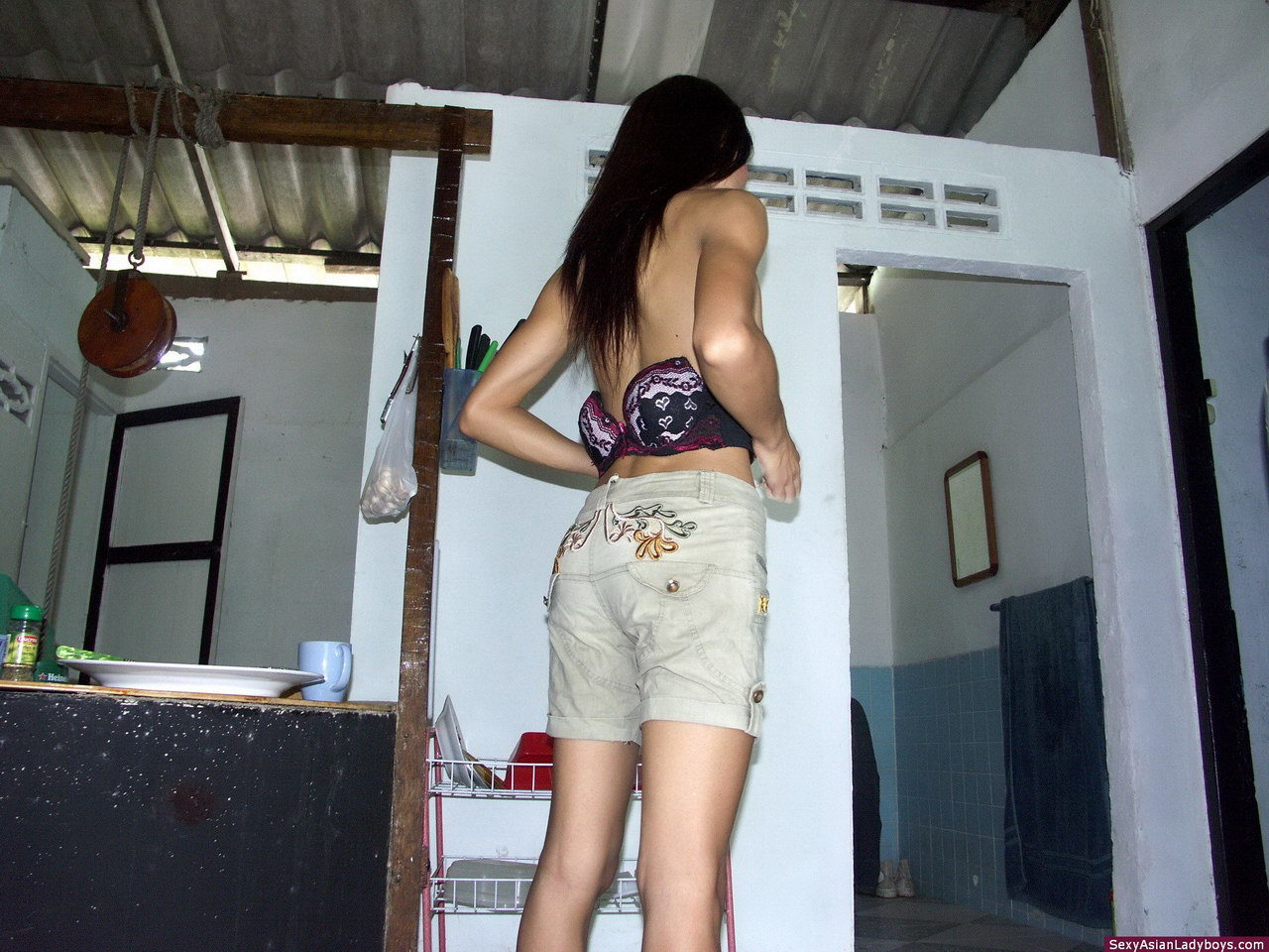 Needy Naked Thai Tgirl Photographed In The Slum Where She Lives
