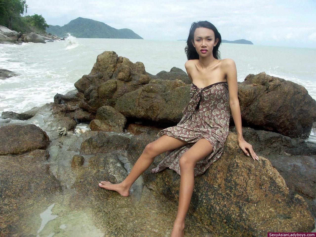 Sensual And Busty Asian Ts Slender Dipping On A Phuket's Beach