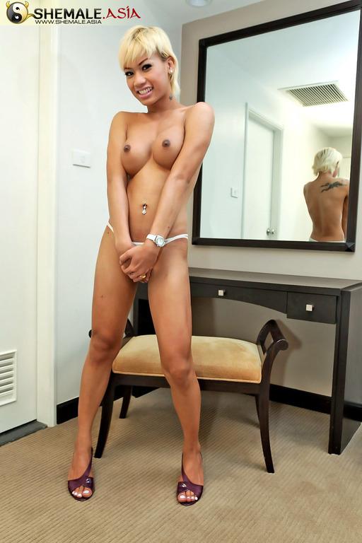 Sensual Blonde Asian Ladyboy Craves Wanking Off