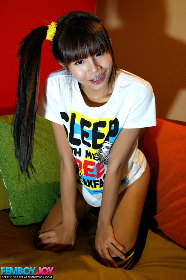Slutty Teen T-Girl In A T Shirt And Socks Stroke's Her Dick Before Bed