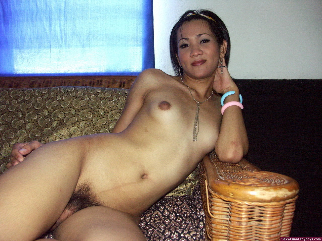 Thai T-Girl Proudly Posing Nude In Her House