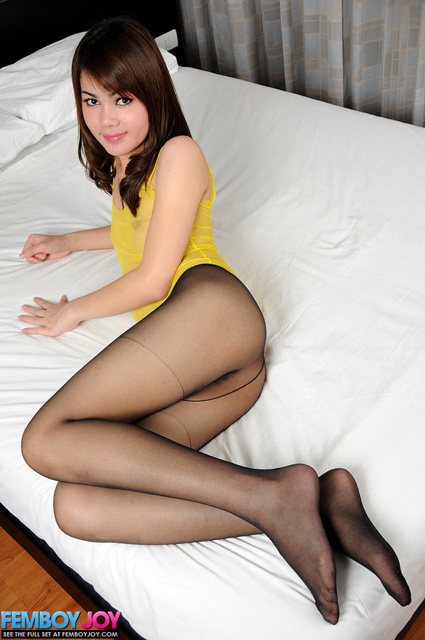 Thai T-Girl Showing Her Penis Through Her Silky Pantyhose