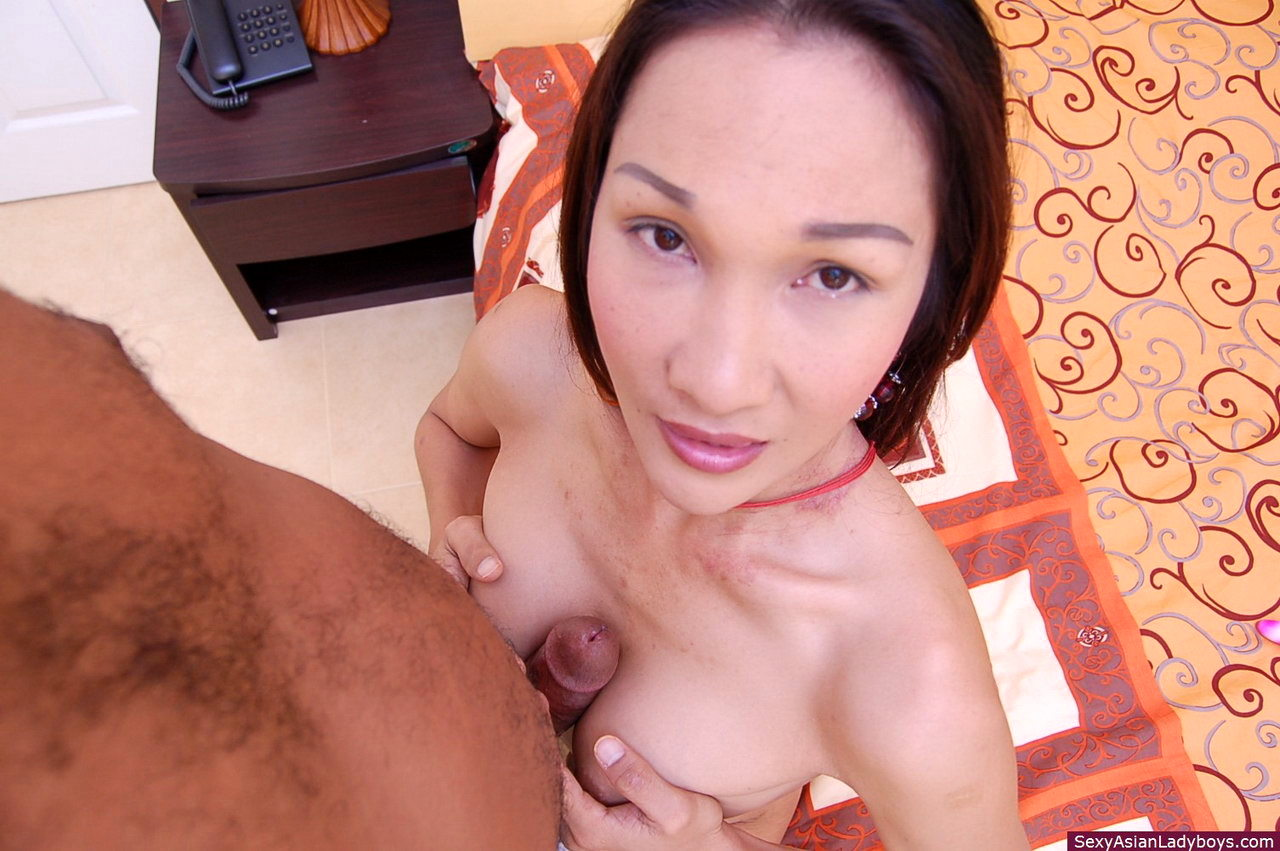 This Busty Asian Tgirl Is Happily Sodomized By Her White Client