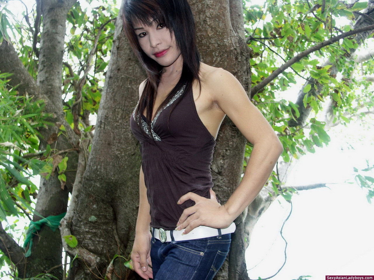 Very Arousing Asian Transexual Flashing Her Seductive Love Tools Outdoors