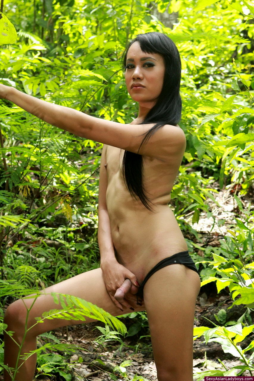 Young TGirl Going For A Walk In The Forest And Flashing Her Raw Meat